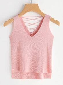 Lace-Up Back Dip Hem Knitted Tank Top
