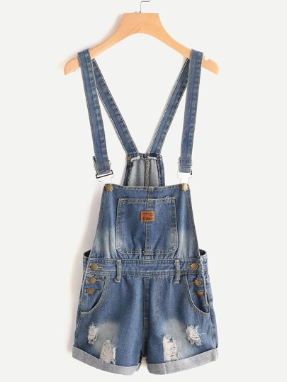 Short en salopette denim lavés cassé agent de blanchiment