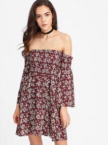 Calico Print Smocked Off Shoulder Bell Sleeve Dress