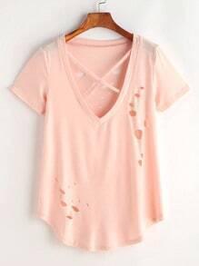 V-neckline Criss Cross Ripped Curved Hem T-shirt