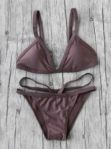 Coffee Strap Triangle Bikini Set