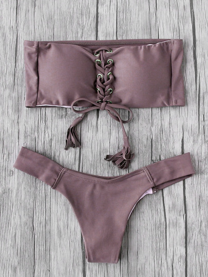 Eyelet Lace Up Quaste Bandeau Bikini Set