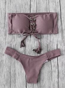 Eyelet Lace Up Tassel Bandeau Bikini Set