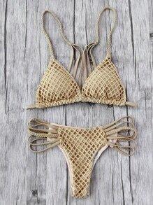 Hollow Out Weave Straps One-Piece Bikini Set
