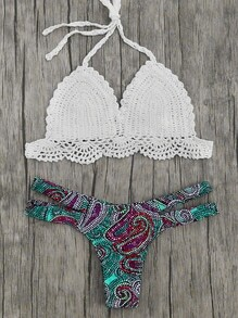 Printed Mix & Match Crochet Bikini Set