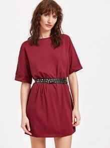 Wind Red Drop Shoulder Roll Cuff Tee Dress