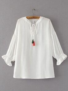 Blusa de costura de hombro caído de cuello con cordón de espiga
