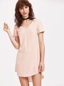 Pink V Neck High Low Curved Dress