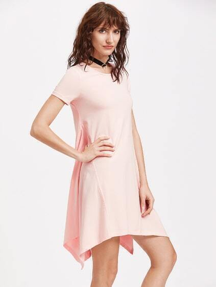 Pink Asymmetric Swing Dress