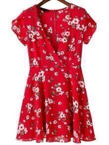 Vestido con cuello en V con estampado de flor