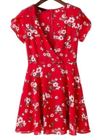 Plunging V-Neckline Floral Dress