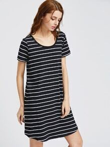 Black White Striped Scoop Neck Curved Hem Tee Dress