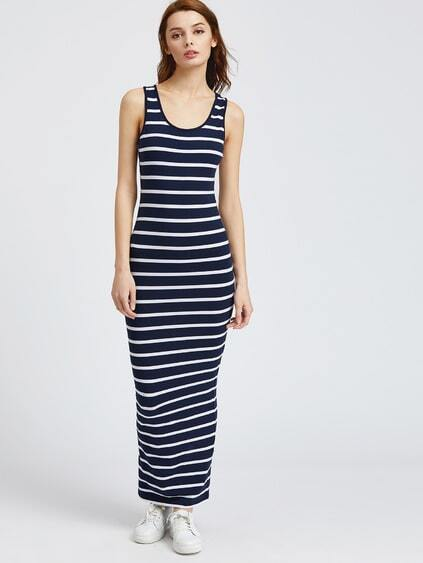 Navy Striped Skinny Tank Dress