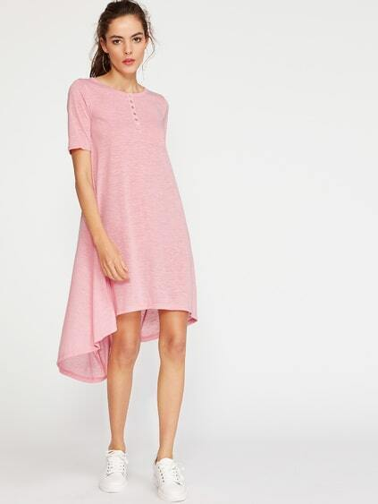 Pink Button Front High Low Slub Tee Dress