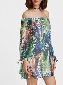 Vestido con estampado tropical de manga con cordón y hombros al aire - multicolor