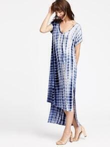 asymmetrische Kleid mit Tie-Dye-Druck und hohe Öffnung - Navy