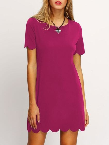 Hot Pink Buttoned Keyhole Back Scallop Dress