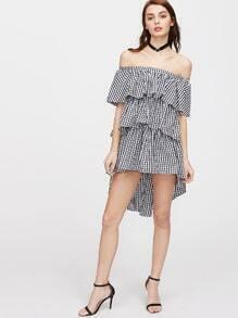 Vestido asimétrico con hombros al aire de cuadros - negro blanco