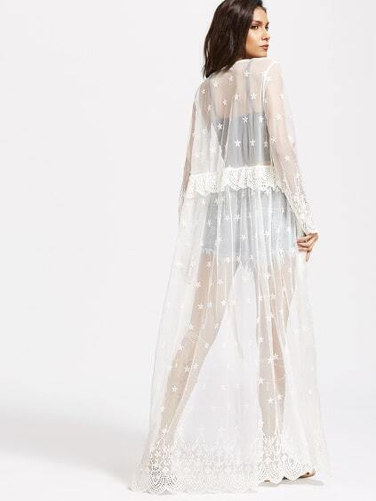 Crochet Trim Embroidered Sheer Maxi Kimono