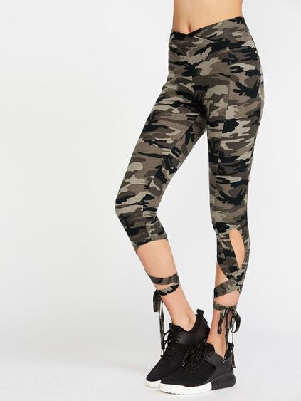 Olive Green Camo Print High Waist Criss Cross Tie Leggings