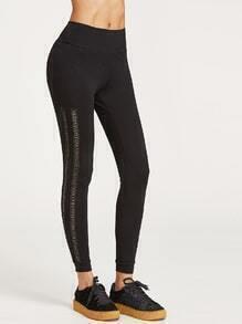Leggings con cinturilla ancha y aplicación de encaje - negro