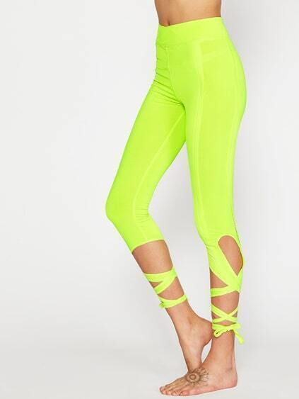 leggings en dentelle cross - jaune fluo