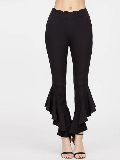Black Scallop Waist Ruffle Hem Crop Pants