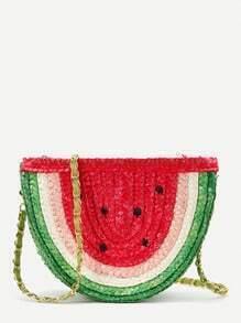 Watermelon Straw Chain Bag