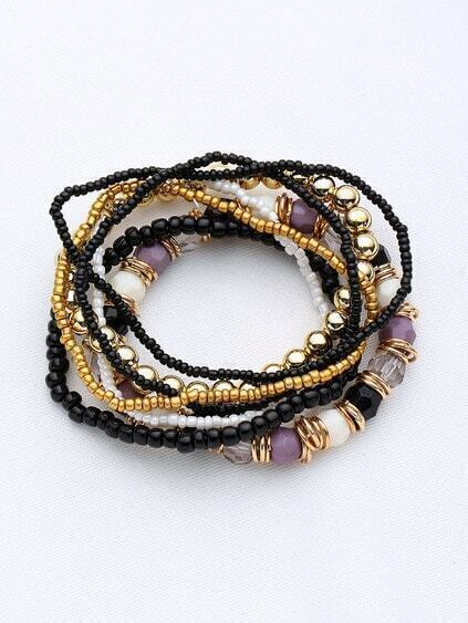Gem Beaded Layered Bracelet