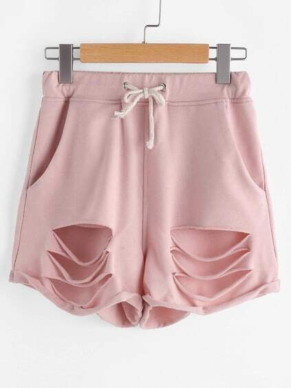 Pink Drawstring Waist Ripped Roll Hem Shorts