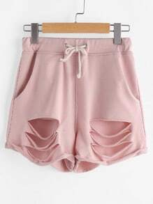 Shorts cintura con cordón rotos - rosa