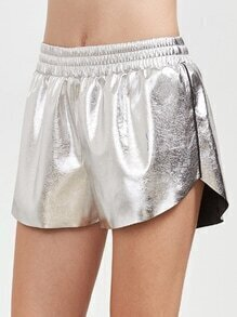 Metallic Silver Faux Leather Shorts