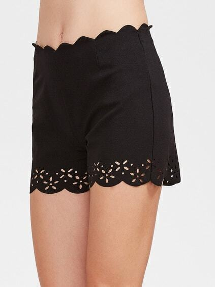 Scallop Waist And Hem Laser Cutout Shorts