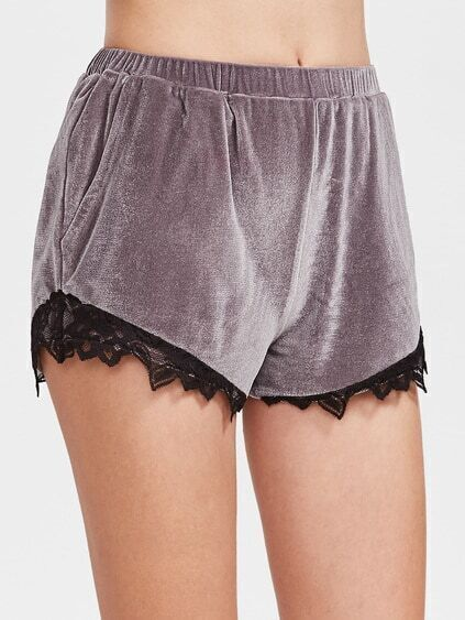 Purple Elastic Waist Lace Trim Velvet Shorts