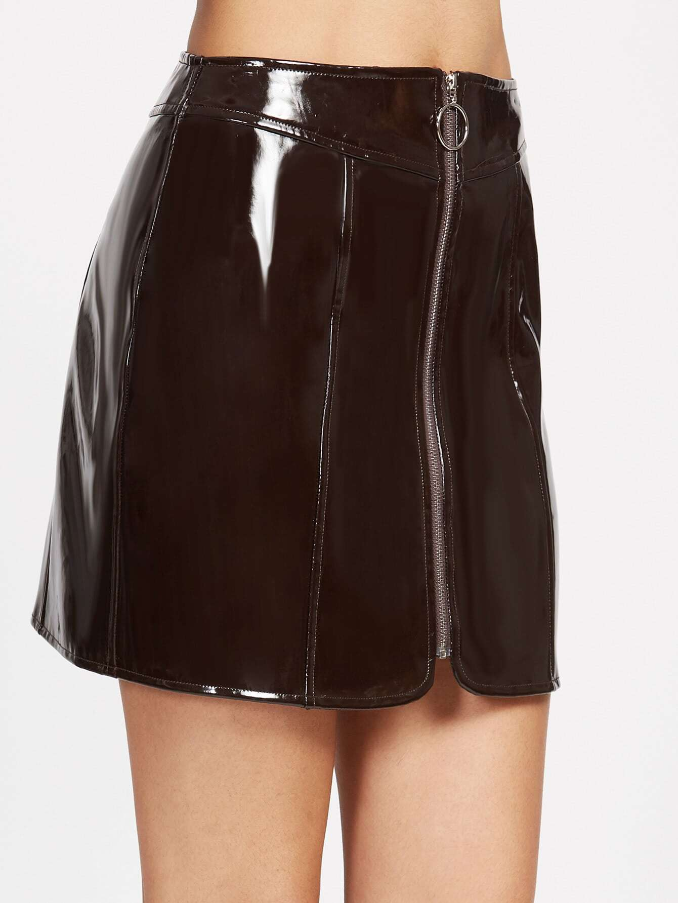 Brown Faux Patent Zip Up Skirt