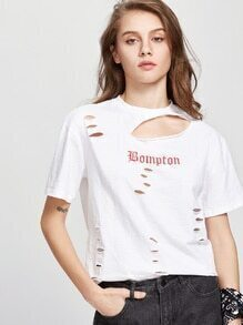 T-shirt affligé de Slub de lettre blanche