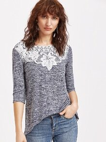 Navy Marled Knit Crochet Applique 3/4 Sleeve T-shirt