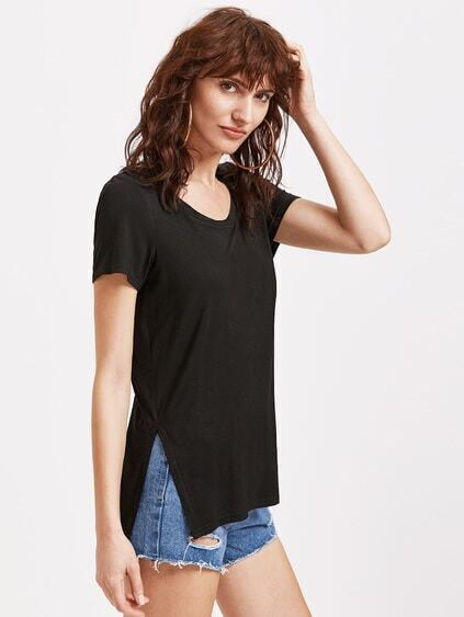 Side Slit High Low Lace Up Back Tee