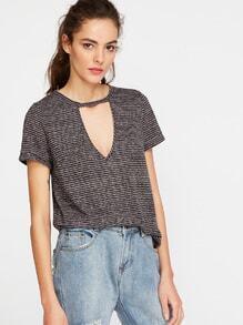 shirt rayé avec ouverture encolure en V - gris