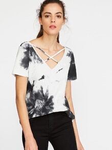 Black White Tie Dye Print Crisscross V Neck Ribbed T-shirt