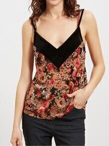 Top de terciopelo con estampado floral - multicolor