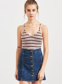 Multicolor Striped Double Scoop Ribbed Cami Top