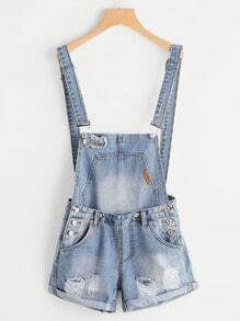 Shorts tablier denim brodé cassé