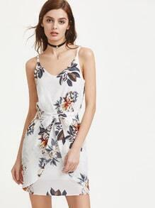 V robe décolleté avec imprimé floral et noeud avant