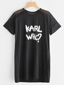 Vestido estilo camiseta contraste de red de pesca estampado de letras