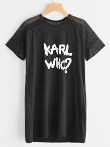 Graphic Print Contrast Fishnet T-shirt Dress