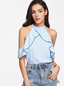 Frill Trim Cold Shoulder Halter Top