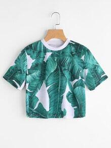 T-shirt imprimé feuilles courtes