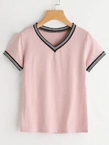 décolleté V rayures chemise université