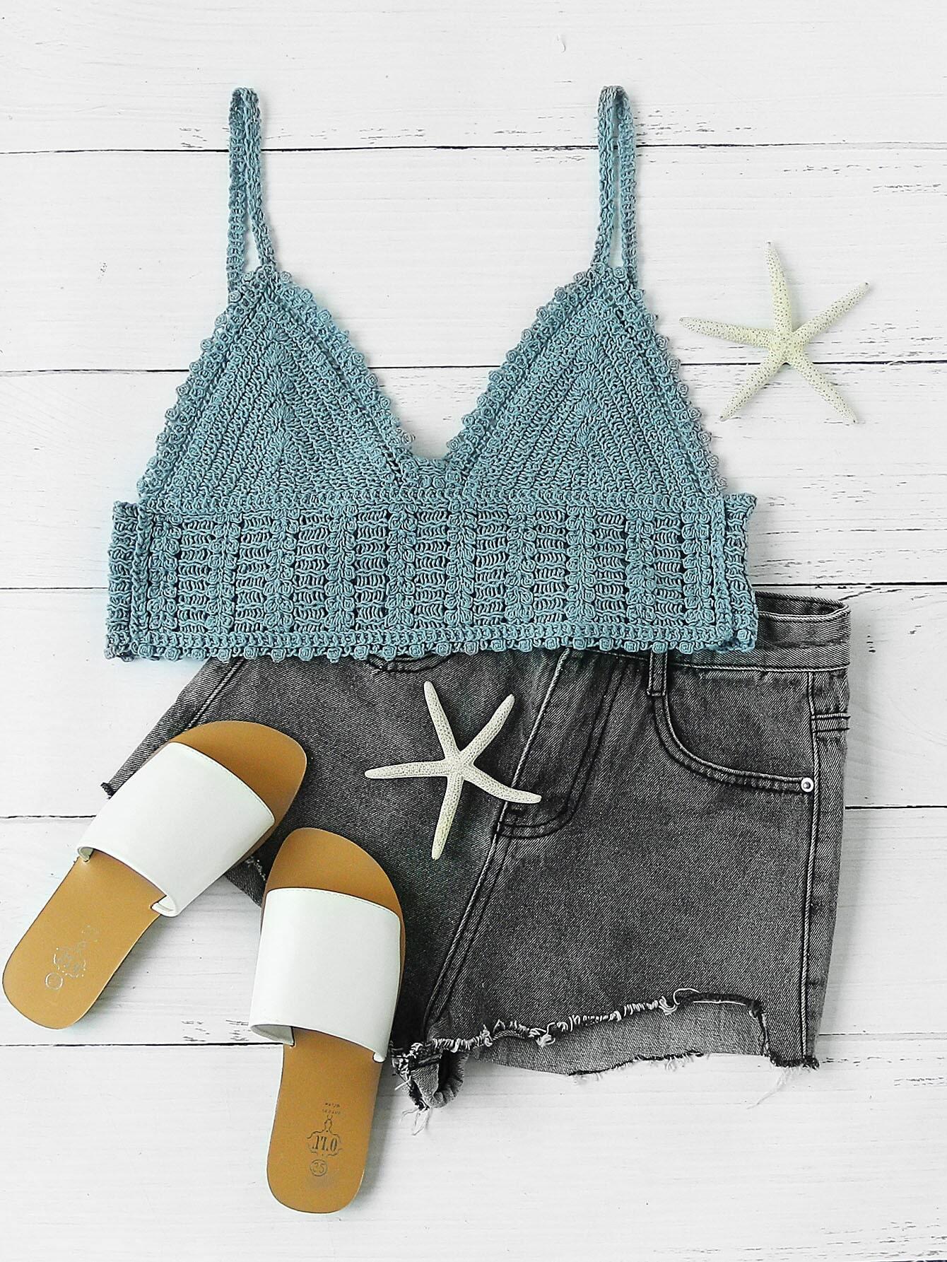 Rib Knit Crop Cami Top RVES170405102